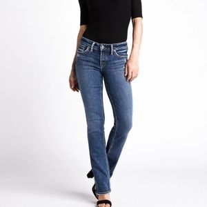 Silver Suki Straight Leg Jeans Light Wash Curvy Stretch Western Boho Bohemian
